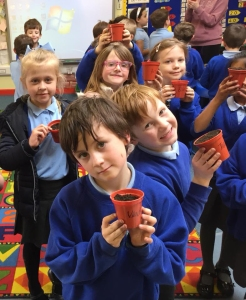 Planting sunflowers at Planting sunflowers at Llanfoist Fawr Primary School.